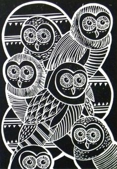 Owls Original Lino Cut Print