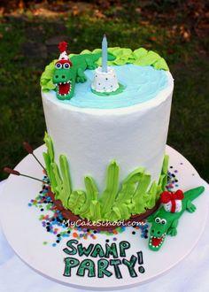 cake school, cake tutorial, allig birthday, allig cake, swamp parti, swamp cake