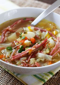 Make a couple substitutions...Corned Beef and Cabbage Soup | Skinnytaste