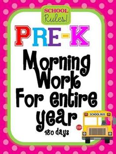 Pre Kindergarten Morning Work for Entire year 180 days I can't use worksheets like this in class, but what perfect homework!!!