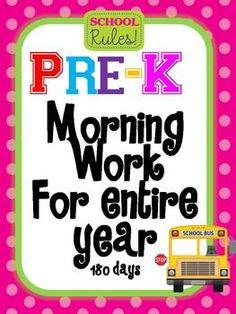 Pre Kindergarten Morning Work for Entire year 180 days