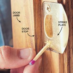 DIY Tip of the Day: Quick Fix for Loose Door Screws. If a loose screw doesn't get a grip, try my grandfather's solution. Fill the hole with steel wool, short length of plumbing solder, or wooden match (noncombustible end). Then reinstall the screw. To fill larger holes, insert a wooden golf tee, then cut it off flush. Drill a centering hole and replace the screw. Don't use glue - the screw might never come out again!