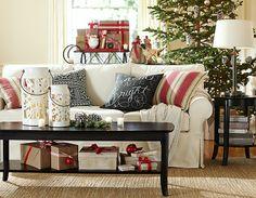 potterybarn, coffee tables, living rooms, potteri barn, pillow cover, barns, holiday decorating, pottery barn, christma