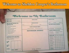 A note from Sheldon Cooper's bathroom.