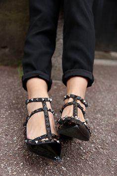 Valentino Noir Rockstud Leather Flats