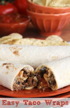 Easy Taco Wraps ~ Stuffed with Cream Cheese, Black Olives, Green Chiles, Tomatoes, Taco Meat & Cheese!