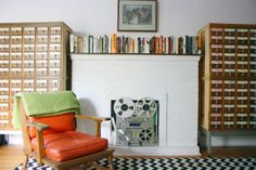 Stephanie & Jason's Vintage Assembly - good use of a fireplace!