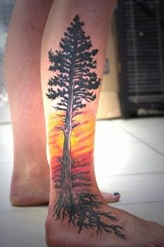 Full tree tattoo on leg...yes this is similar to what I want!  I want the roots to look like they are going into the ground though.