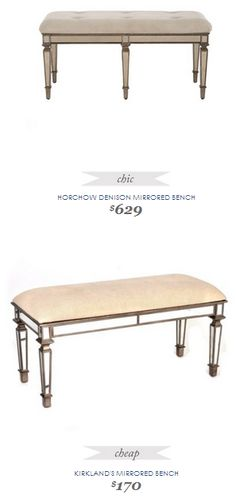 Copy Cat Chic Find | HORCHOW DENISON MIRRORED BENCH vs KIRKLAND'S MIRRORED BENCH