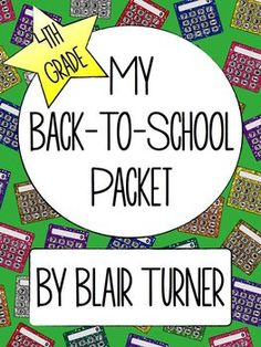 Back-To-School Activity Packet - 4th Grade $