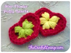 Star Flower Puffy Hearts - Green & Yellow by e Lee Free Pattern: http://thecrochetlounge.com/divine-love-series-star-flower-puffy-hearts #FreeCrochetHeartPattern #TheCrochetLounge #Applique