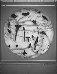 Fred Scherer installing Birds of Paradise Group—American Museum of Natural History (1945)    Source: American Museum of Natural History Research Library Photo Collection