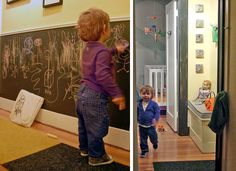 I wish our playroom did not have white paneling that we can't take down... I would love to have a chalkboard feature - so fun!! From ohdeedoh.com