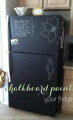 chalkboard paint your fridge
