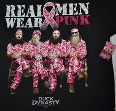 cool breast cancer awareness shirts for men | Mens Duck Dynasty Real Men Wear Pink Breast Cancer Awareness T Shirt ...