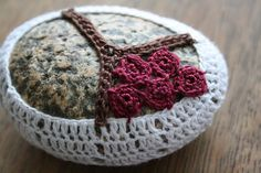 crocheted rock with branch tutorial