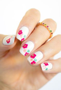 Beautiful Spring Nail Art. Click for nail art tutorial. #nails #spring