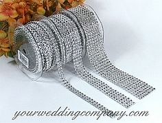 Narrow Diamond Wrap (Simulated Rhinestone Ribbon) - Bling your wedding!  Diamond Wrap is a sparkling, bendable ribbon perfect for wrapping around wedding bouquet handles, favor boxes, candles, vases, cakes and more.