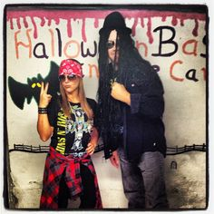 Halloween Couples costume. Guns and Roses Slash and Axl Rose