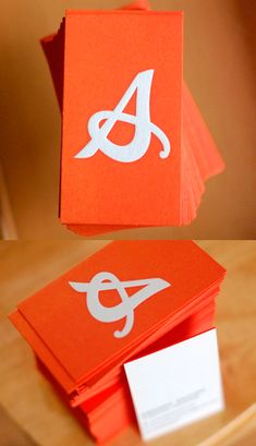 Beautiful Monogram Typography On A Bright Edge Painted Business Card