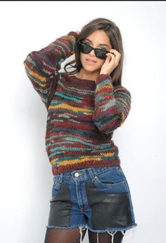 Reworked with love and care!   Get this multi-colored sweater on our new website that is soon to be up & running!    www.thevintagetwin.com multicolor sweater
