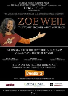 Zoe Weil is touring #Australia mid-February with her The World Becomes What You Teach #speaking #tour.