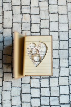 Ring 'book' -- Library inspired wedding. See the wedding here:  http://www.StyleMePretty.com/2014/05/29/providence-public-library-wedding/   Photography: RuthEileenPhotography.com