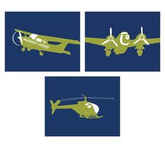 Vintage Airplane Art for Boys Nursery set of 3 5 x 7 by nevedobson, $30.00