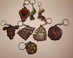 Game Of Thrones Houses Keychain guest favors guest favor, hous keychain, throne hous, game of thrones