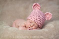 adorable pink crocheted baby hat