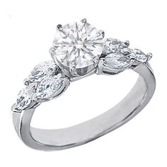 Engagement Ring with Marquise Diamonds side stones