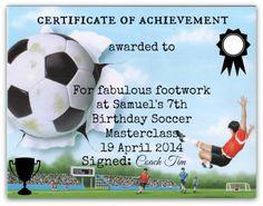 football certificates of achievement