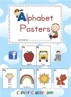 Beginning-Initial Sounds Alphabet Posters - PDF file15 page file designed by Clever Classroom. Are you looking for bright, bold, cute alphabet posters? Then these beginning sounds posters will be ideal for you.  Each poster displays both upper and lower-case letters, a large image & text labelling the image name, with the initial sounds highlighted in red.  2 posters per page.   To make smaller cards, for flash cards, games, pocket charts, tins or a smaller word wall, print 2 slides to a page.