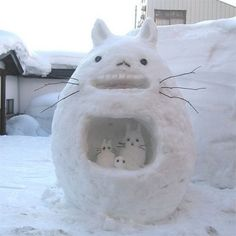 cats, sculptures, winter, famili, totoro, snow bunnies, snowman, snow art, kitty