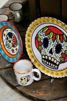 Day of the Dead Dinnerware, 100% #madeinTucson. #handpainted #leadfree