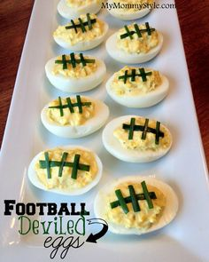Football Deviled Eggs >> Superbowl Party!!