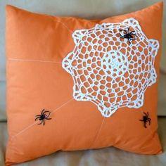 Spider Web Doily Pillow {Halloween Decoration Ideas}