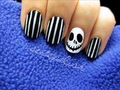 Nightmare before Christmas nails by Cute Polish #nails #nailart #halloweennails