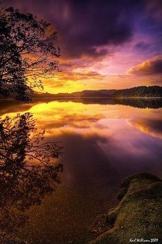 Sunrise at Loch Ard in the Trossachs.