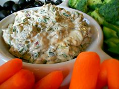 Delicious Fresh Spinach Dip- perfect for vegetables and crackers! Only 5 ingredients. ***PLUS-- Homemade Onion Soup Mix Recipe