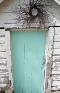 aqua door weathered white