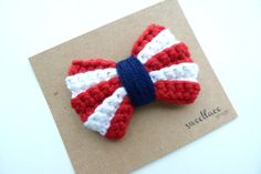 Hair Clip or Headband--4th of July--Crochet Bow--Baby headband--Girls hair accessories--Red,white and blue NO pattern - color variation inspiration