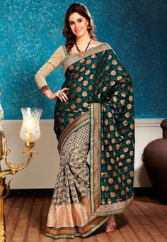 Black and Beige Banarasi Jacquard Saree with Blouse @ $110.80
