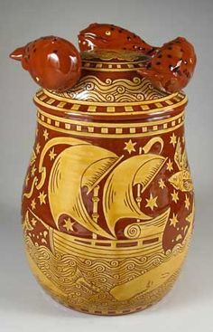 Contemporary sgraffito redware storage jar. R. Geering Pottery, Cape Cod.
