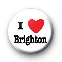 I Love Brighton Badge button badges