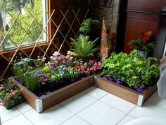 Caixas com flores e uma treliça criam um espaço charmoso e diferente.