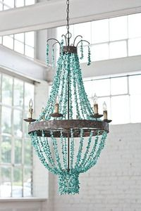 decor, turquoise chandelier, turquois stone, idea, beach houses, chandeliers, light, iron, design