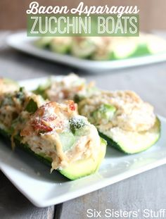 Bacon Asparagus Zucchini Boats from Sixsistersstuff.com - If you are looking for something different for dinner, these are delicious!