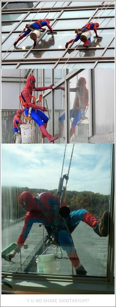 The window washers at a children's hospital in London dress up as super heroes to lift the children's spirits. You've got to like that they do this, it's awesome.