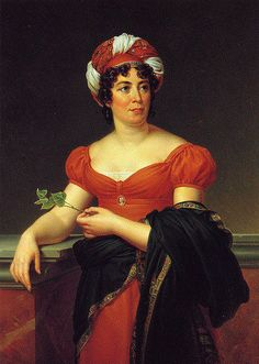 ca. 1810 Madame de Staël by Baron François Pascal Simon Gérard.  Mme. de Staël wears a colorful red- and white-striped turban and a red Empire-style dress